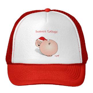 Season's Greetings (Eatings) Pig Cartoon. Trucker Hat