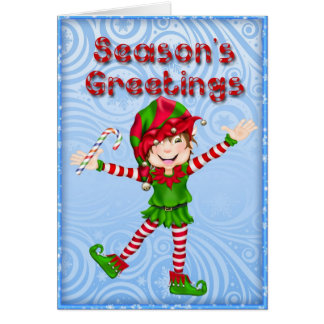Season's Greetings Elf Greeting Card