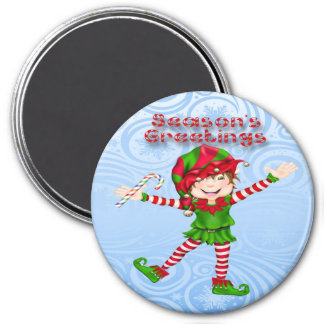 Season's Greetings Elf Round Magnet