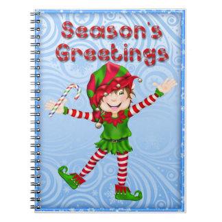 Season's Greetings Elf Spiral Notebook