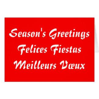 Season's Greetings Felices Fiestas Meilleurs Vœux Card