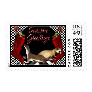Seasons Greetings - Ferrets,  Mustelids Rodents Postage