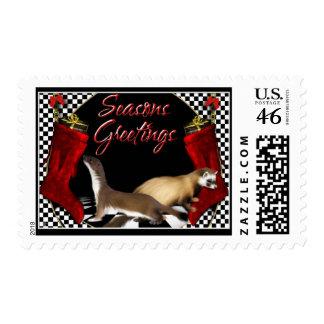 Seasons Greetings - Ferrets Mustelids Rodents Postage