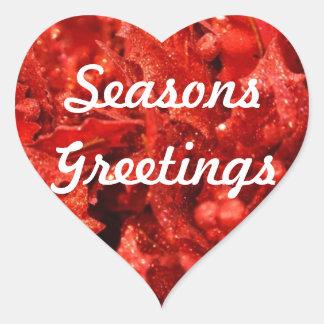 Seasons Greetings Festive Heart Stickers