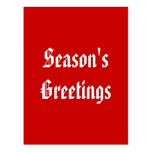 Season's Greetings. Festive Red and White. Custom Post Cards