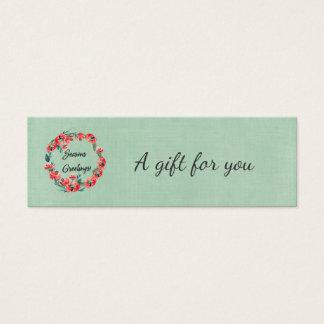 Seasons Greetings Floral Wreath & Retro Reindeer Mini Business Card