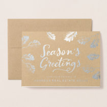 Season's Greetings Foliage | Holiday Greetings Foil Card