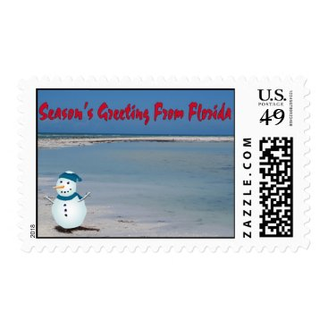 Beach Themed Season's Greetings From Florida, snowman on beach Postage