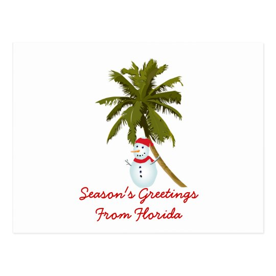 Season's Greetings from Florida, Snowman palm tree Postcard