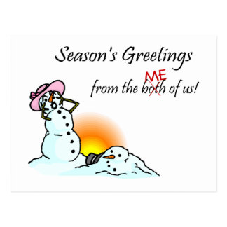 Seasons Greetings From The Both Of Us Me Postcards