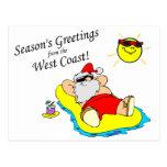 Seasons Greetings From The West Coast Santa Postcard