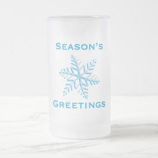 Season's Greetings Frosted Glass Beer Mug