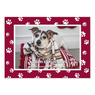 Season's Greetings! Fun White Paw Prints Dog Photo Card