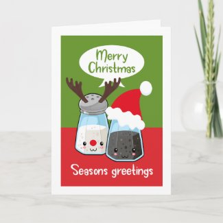 Seasons Greetings Funny Salt Pepper Food Themed Card