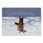 Seasons Greetings German Shepherd in the Snow Card