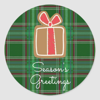 Season's Greetings Gingerbread Gift Plaid Classic Round Sticker
