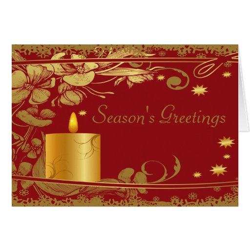 Season's Greetings Gold Candle Card