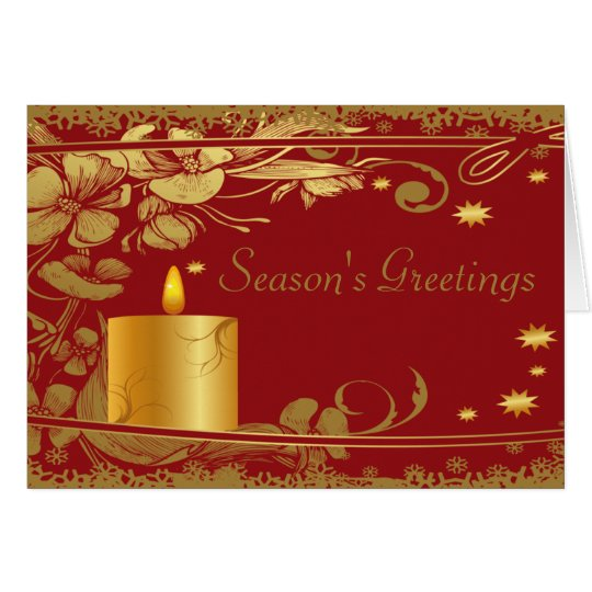 Season's Greetings Gold Candle Card