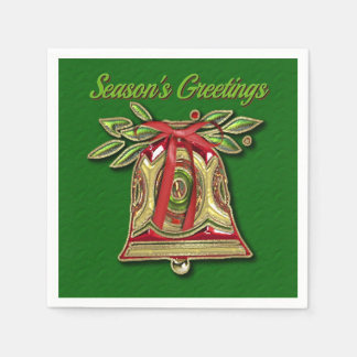 Season's Greetings Gold Christmas Bell Napkins Paper Napkins