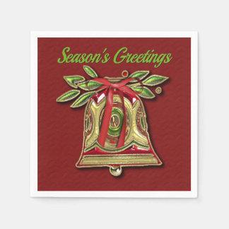 Season's Greetings Gold Christmas Bell Red Napkins Paper Napkin