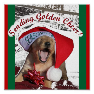 Seasons Greetings GOLDEN RETRIEVER CHRISTMAS PUPPY Poster