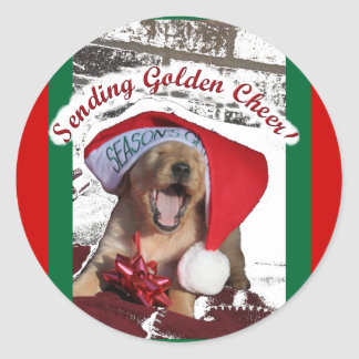 Seasons Greetings GOLDEN RETRIEVER CHRISTMAS PUPPY Sticker