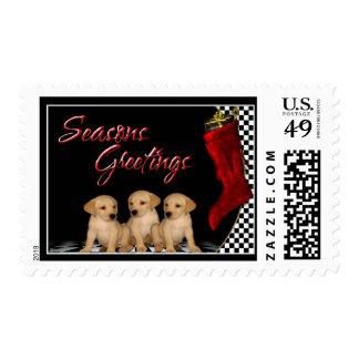 Seasons Greetings - Golden Retriever Puppies Dog Postage