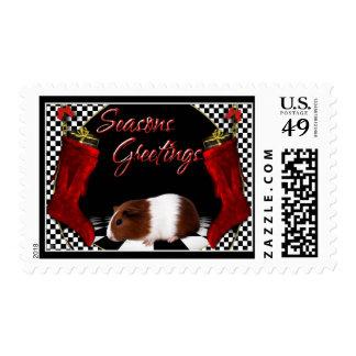 Seasons Greetings - Guinea Pig Postage Stamp