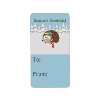 Season's Greetings Hedgehog Label