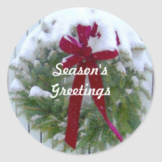 Season's Greetings Holiday Card Envelope Seals Classic Round Sticker