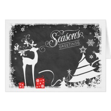 Professional Business Season's Greetings Holiday Card | Faux Chalkboard