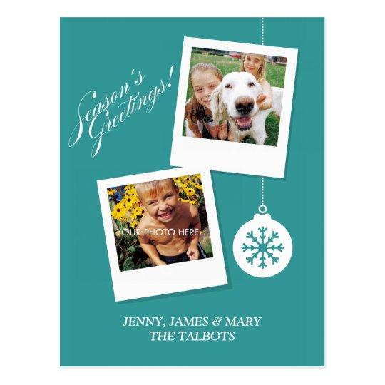 Season's Greetings Holiday Custom Photo Postcard