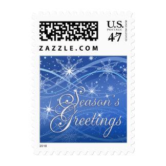 Season's Greetings Holiday Postage - Blue