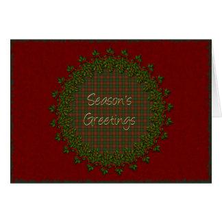 Season's Greetings Holly Wreath Card
