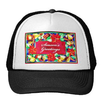 Season's greetings holy leaves around hat