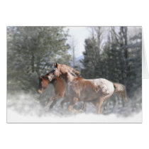 Season's Greetings Horses in Snow Card