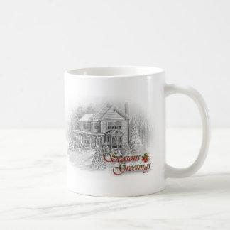 Seasons Greetings House Christmas Drawing Coffee Mug