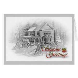 Seasons Greetings House Drawing Card