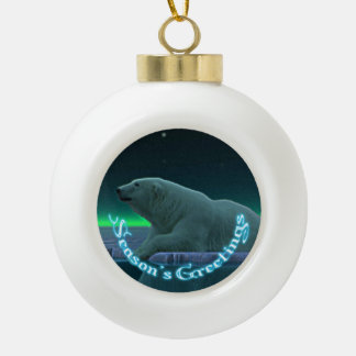 Season's Greetings - Ice Edge Polar Bear Ceramic Ball Christmas Ornament