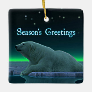 Season's Greetings - Ice Edge Polar Bear Ceramic Ornament