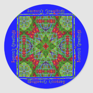 Season's Greetings in Blue #2204 Round Stickers