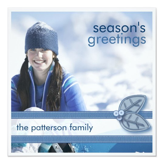Season's Greetings in Blue Square Photo Card