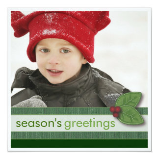 Season's Greetings in Green Square Photo Card