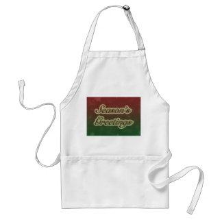 Season's Greetings in Text on Red and Green Adult Apron
