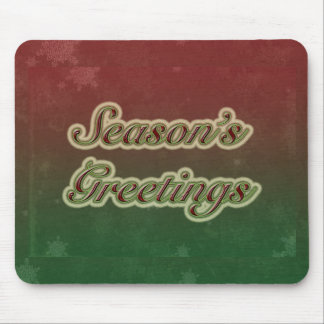 Season's Greetings in Text on Red and Green Mouse Pad