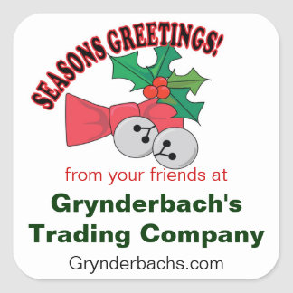 Seasons Greetings Jingle Bells and Holly Square Stickers