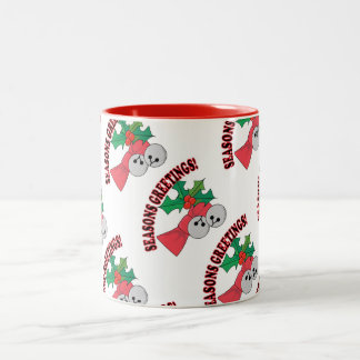 Seasons Greetings Jingle Bells and Holly Two-Tone Coffee Mug