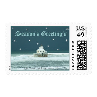 Season's Greeting's Lighthouse Postage