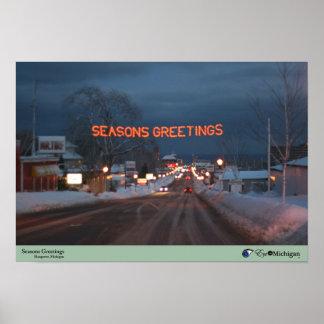 Seasons Greetings - Marquette, Michigan Poster