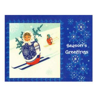Seasons Greetings, Matryoshka on skis Postcard